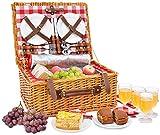 Picnic Basket Set for 4 Person | Insulated Red Picnic Hamper Set...