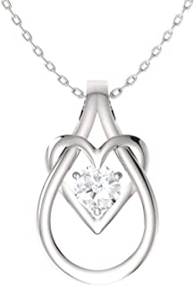 Diamondere Natural and Certified Gemstone Heart Infinity Knot Necklace in 14k White Gold | 0.17 Carat Pendant with Chain