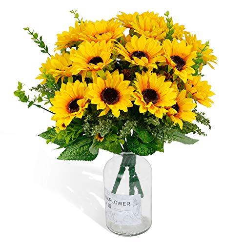 Künstliche Sonnenblumen 2 Bündel unechte Sonnenblumen Seidenblumen Sonnenblumenstrauß gelbe Blumen Hochzeitsdekoration Zuhause Hotel Büro Party Garten dekorative Blumen Tischdekoration