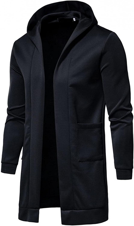 SUIQU Jackets for Men with Hood Autumn & Winter Fleece Warm Solid Color Long Sleeve Utility Hooded Windbreaker Coat