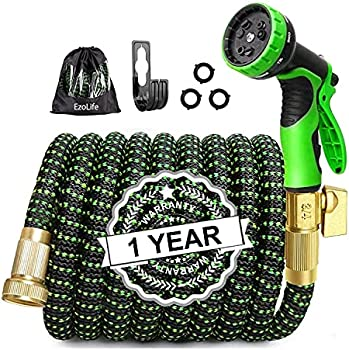 50-Feet Expandable Garden Hose with Brass Connector and Spray Nozzle