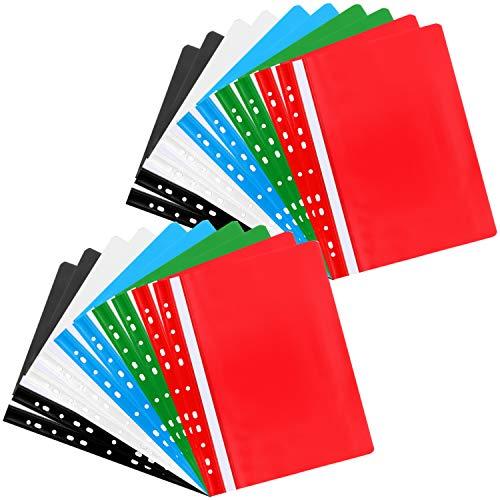 com-four® 20x Schnellhefter DIN A4 - gelochte Hefter mit Beschriftungsstreifen - Kunststoffhefter für Schule, Büro und zu Hause (20 Stück - gelocht bunt)