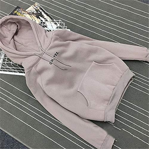 YDMZMS merk herfst winter papier Harajuku druk dikke trui dames sweatshirts met capuchon sweatshirts dames casual M grijs