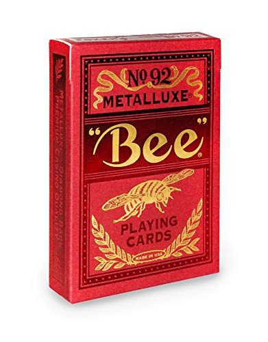 Bee MetalLuxe Playing Cards - Red Foil Diamond Back, Standard Index
