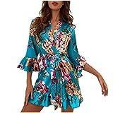 Corlidea 3 teiliges Satin Pyjama Dessous-Sets, Dessous Frauen Silk Lace Babydoll Nachtwäsche Nachthemd Kimono Bademantel Seide Roben V Ausschnitt Mit Blumenspitze