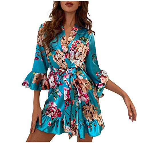 Conjunto de pijama de seda de satén para mujer, camisón, ropa interior, ropa interior, camisón sexy con bata