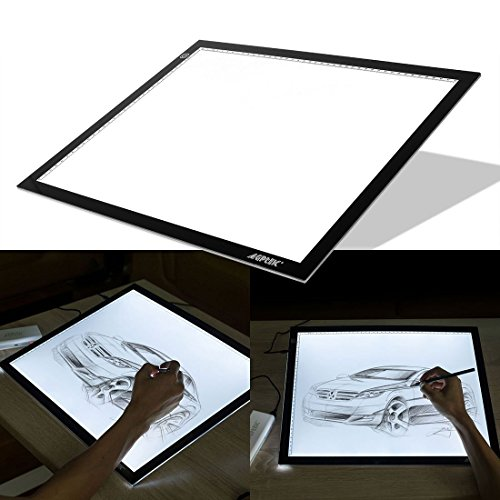 A3 Light Box, AGPtek LED Artcraft Tracing Light Pad Ultra-thin USB Power Cable Dimmable Brightness Tatoo Pad Aniamtion, Sketching, Designing, Stencilling X-ray Viewing W/ USB Adapter (PSE Approval )
