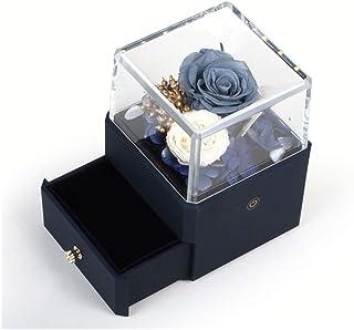 バレンタインデーのための引き出しの装飾とアクリルPlascticトゥルーローズLEDライトジュエリーリングペンダント表示ボックス HYFJP (Color : Navy blue, Size : フリー)