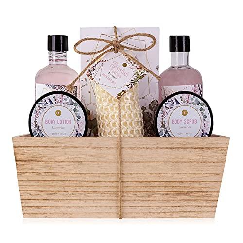 accentra Geschenkset Floral Dreams im Holzkorb Bade-, SPA und Dusch Set Lavendel Duft – 7-teiliges Geschenk set in dekorativem Korb aus Holz, bestes Geschenk für...
