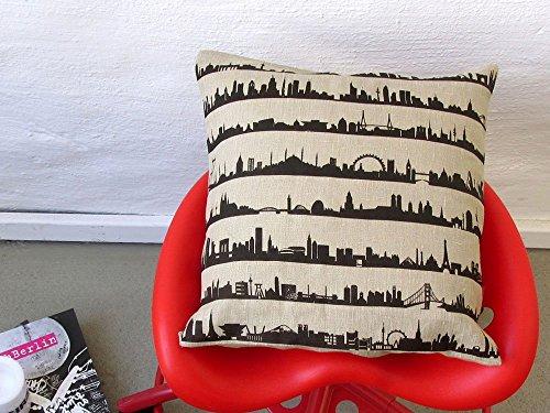 16C Leinen-Kissen. Kissen mit 16 Skylines. Natur Leinen-Kissenbezug 40 x 40 cm. 44spaces