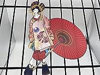 花魁(おいらん) LLサイズ 日本画オリジナルハンドメイド品ステッカー UV耐水加工 輪郭カット