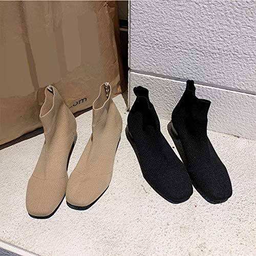 HOESCZS Talons Hauts Wohommes chaussures Knit Elastic Cloth Square Head Sleeve Thick High Heel Thin Stockings bottes Short Tube Fashion