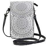XCNGG Sac pour téléphone portable Tropical Mandala Black White Cell Phone Purse Wallet for Women Girl Small Crossbody Purse Bags