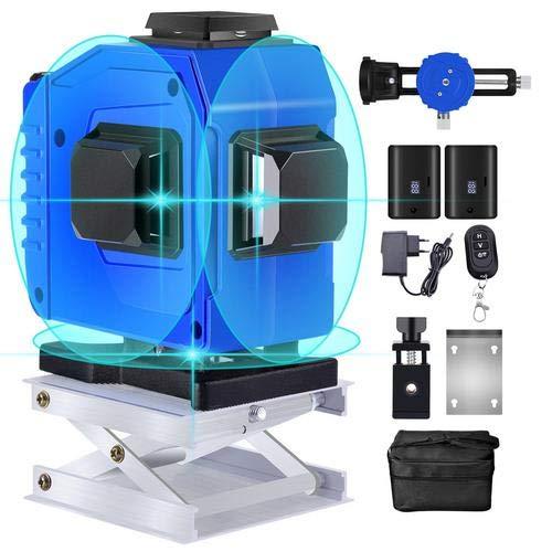 Kreuzlinienlaser 3x360 Blaugrünes Licht Laserpegel 3D 12 Linie Kreuzlaser Laserniveau 25M Selbstnivellierendes IP54 Vertikale Horizontale Mit Halterung 2 Lithium Batterien(Bläulich grünlich )