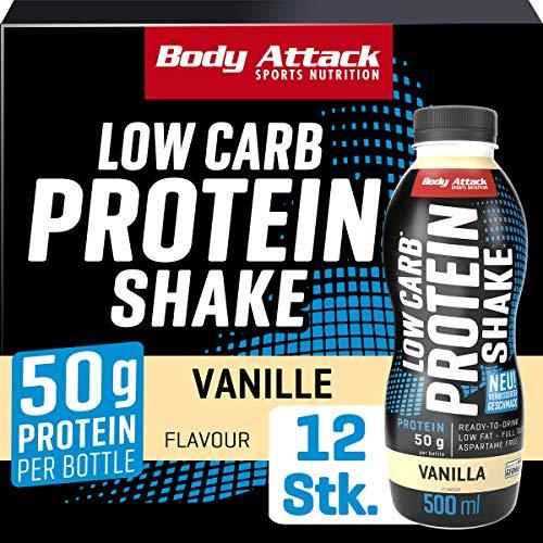 Body Attack Low Carb Protein Shake, Milch-Eiweiß, Fertigdrink in 500ml Flasche, Vanilla (12 x 500ml)