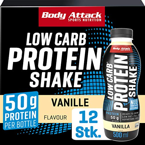 Body Attack Low Carb Protein Shake, Milch-Eiweiß, Fertigdrink in 500ml Flasche, Vanilla (12 x 500ml)