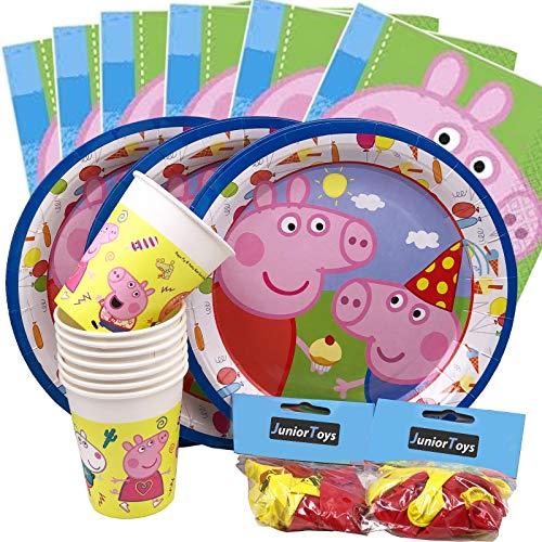 JuniorToys Peppa Pig - Juego de 64 piezas con platos, vasos, globos y servilletas, diseño de Peppa Pig