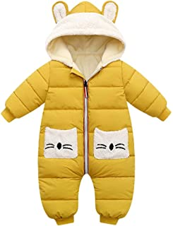 Mameluco con Capucha para Bebés Niños Niñas Traje de Nieve de Invierno Monos Abrigo Algodón Manga Larga Bolsillo Regalo Re...