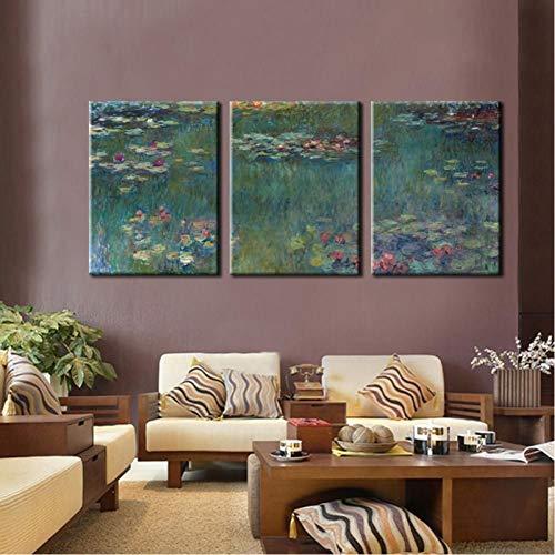 TBWPTS Canvas Schilderij 3 panelen impressionisme Canvas schilderij Monet beroemde schilderij Nympheas olieverfschilderij woonkamer Home Wall Decor Gift