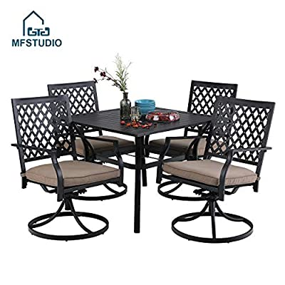 "MFSTUDIO 5 Piece Black Metal Outdoor Patio Dining Furniture Set with 4 Swivel Chairs and 37"" Steel Frame Slat Larger Square Table with 1.57"" Umbrella Hole for Indoor and Outdoor, Black"
