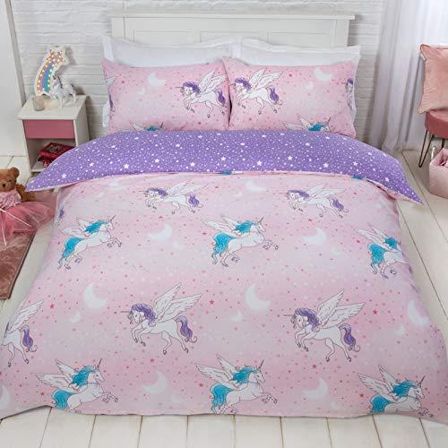 Dreamscene, set di biancheria da letto con copripiumino e federa, reversibile, motivo unicorno, in policotone, 50% cotone, colore: rosa, viola, matrimoniale