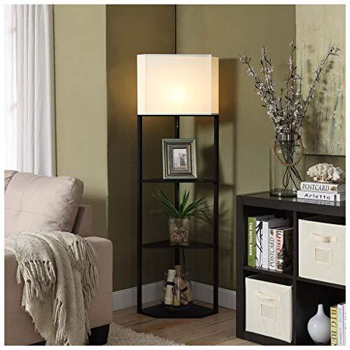 QTDH Staande ledlamp met plankcombinatie, modern hoekplateau, staand en op de bank, afstandsbediening, leeslamp voor woonkamer of kantoor