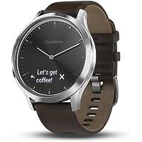 Garmin vivomove HR Hybrid Smartwatch with Dark Brown Leather Band (Black/Silver)