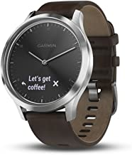 Garmin vívomove HR, Hybrid Smartwatch for Men and Women, Black/Silver with Leather Band, Large (010-01850-14)