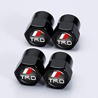 Kaolele 4 Pcs Metal Car Wheel Tire Valve Stem Caps for Toyota TRD Fj Cruiser, Supercharger, Tundra, Tacoma, 4runner,Yaris,Camry Highlander Avalon Logo Styling Decoration Accessories