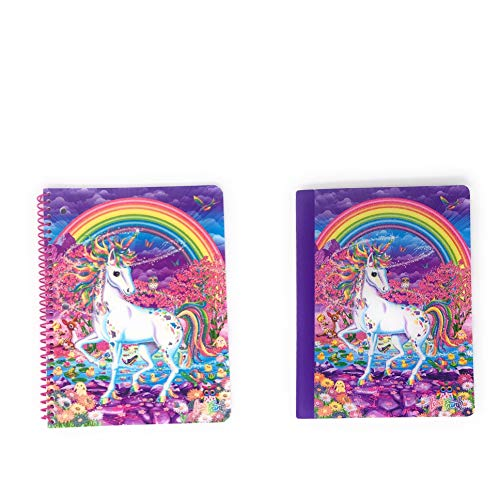 Lisa Frank Unicorns Notebook Set- Wide Ruled Composition Notebook and Wide Ruled 1Subject Spiral Notebook School Supplies for Classroom and Home School Fun