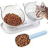 Dorakitten Cat Food Bowls Double Raised Cat Feeding Bowl Double Kitten Dishes Kitty Water Feeder Raised with Stand for Cats & Small Dogs