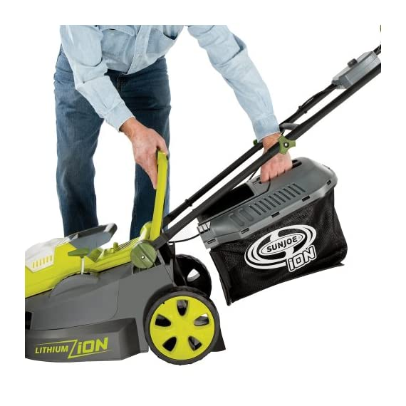 Sun Joe iON16LM 40-Volt 16-Inch Brushless Cordless Lawn Mower, Kit (w/4.0-Ah Battery + Quick Charger), ION16LM 7 For use with iBAT40 Series 40 V lithium-ion batteries and iCHRG40 and iCHRG40QC chargers - sold separately No pull cords, gas, oil, tune-ups, carbon emissions or tangled extension cords Powerful brushless motor increases battery efficiency, maximizes motor performance, decreases noise and vibration and extends motor life