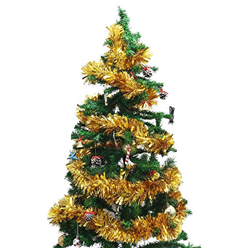Belle Vous Tinsel (3 Pcs) - 3Meter Each Gold Tinsel Decorations Garland for Xmas Tree - Christmas Tinsel Decorations for Wall Windows Wreath Stairs Bannister Fillable Baubles Ceiling Party Decorations