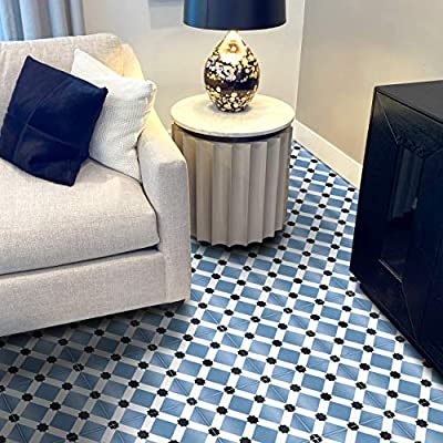 Moroccan Mosaic & Tile House Toledo PCT01-01 Ceramic Floor/Wall Tile, , Dusty Blue and Black