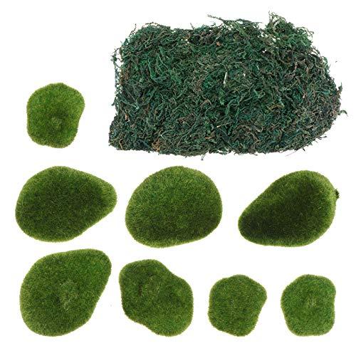 TOYMYTOY Piedras de Musgo Artificiales Bolas de Musgo Verde Decorativas Piedras de Musgo Césped para Arreglos Florales Jardines de Hadas Terrarios Planta de Fabricación de Macetas Verdes