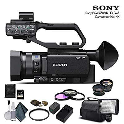 Sony PXW-X70 4K Professional XDCAM Camcorder (PXW-X704K) with 64GB Memory Card, Extra Battery and Charger, UV Filter, LED Light, Case, Telephoto Lens, Wide Angle Lens, and More - Advanced Bundle from Mad Cameras