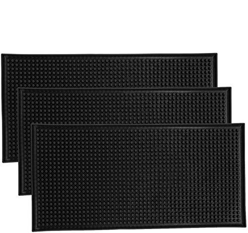 """HighFree 3 Pack Black Bar Mat Spill Mat Glass Drying Mat Cocktail Mixing Service Mat for Counter Top(12""""(L) x 6""""(W))"""