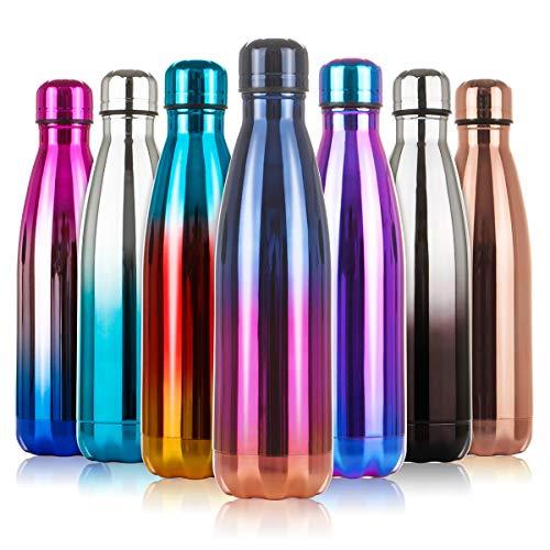 lalafancy Bottiglia di Acqua 500ml, Borraccia Sportiva Thermos in Acciaio Inox Isolamento Sottovuoto a Doppia Parete per 24 Ore Freddo & 12 Caldo, Pri