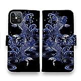 AnglersLife 手帳型 スマホケース iPhone アイフォン タトゥー風昇り鯉 ブルー&ブラック 【iPhone12 Pro】