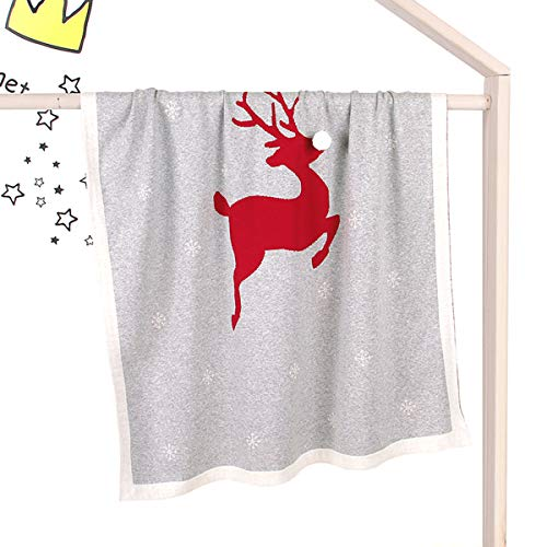 Yinuoday Manta de punto para bebé, manta de Navidad impresa para niños pequeños, alces para cunas Funda de...