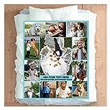 Fotodecke Personalisierte Decke mit Bild für Erwachsene Baby Haustier Flanell Vlies Customized Photo Throw Geburtstag Hochzeitsgeschenk 12 Fotos Collage (150x220cm)