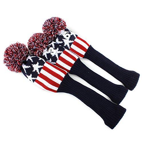 3pcs American Flag Star Pom Pom Sock Set Vintange Knit Universal Golf Drivers Fairway Woods Hybrids Head Covers