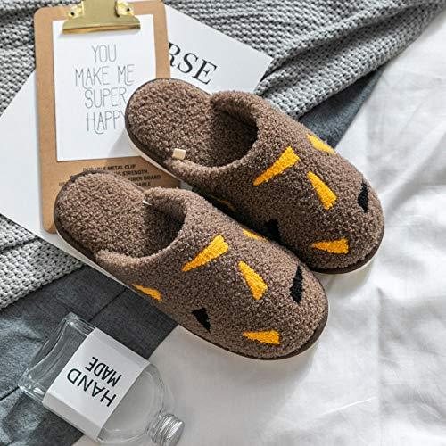 B/H Zapatillas de espuma viscoelástica para hombre, zapatillas de algodón de tela para el hogar, zapatos de confinamiento cálido de felpa de invierno, café_41/42, lana de felpa forrada con forro polar