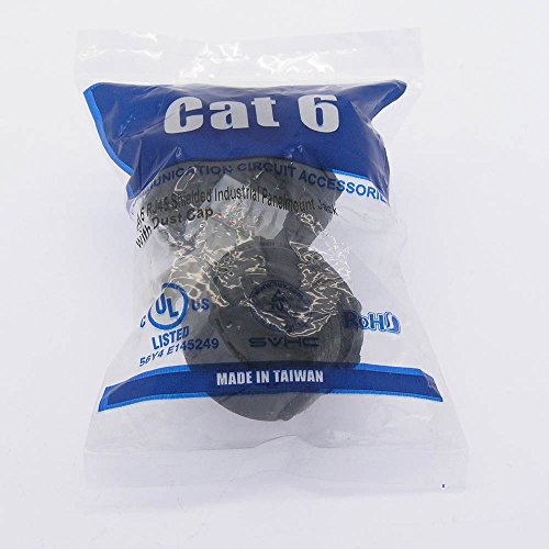 InstallerParts Cat 6 RJ45 Shielded Industrial Panelmount Jack with Dust Cap