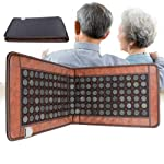 Far Infrared Heating Pad-Natural Jade and Tourmaline Heating Pad Mats 110V Electric Stone Heating Mattress Pad Massage Mat for Back Neck Knee Leg Hip Cramps Pain Therapy 50cmX150cm