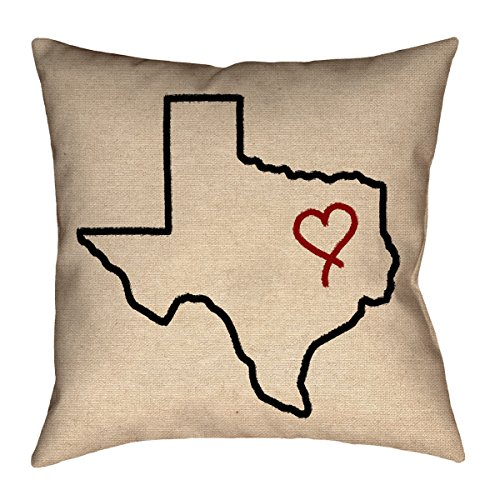 ArtVerse Katelyn Smith 14 x 14 Faux Suede Double Sided Print with Concealed Zipper /& Insert Texas Canvas Pillow