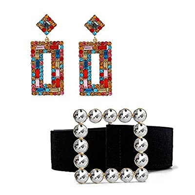 Aodigeso Fashion Designer Belts for Women with Statement Drop Earrings,Leather Belts for Jeans Dress Pants with Gorgeous Colorful Crystal Buckle and Dangle Earrings for Women Girls