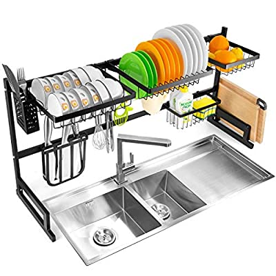 Over The Sink Dish Rack (34''), 2 Tier Dish Drying Rack, Large Dish Drainer Shelf with Utensil Holder, Over Sink Kitchen Stainless Steel Storage Rack Space Saver Display Stand from YIKA