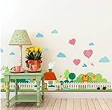 Rural Gartenzaun Kinderzimmer Wandaufkleber Schlafzimmer Garten Wandtattoo Poster 3D Dekoration 42 * 126cm