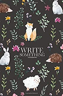 Notebook - Write something: Watercolor pattern for children, children's wallpaper with animals, forest dwellers, dark back...